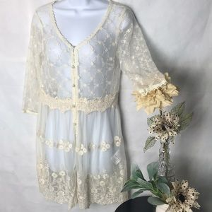 a'reve Ivory Lace Button Front Tunic Top Sheer